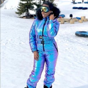 Iridescent snowsuit
